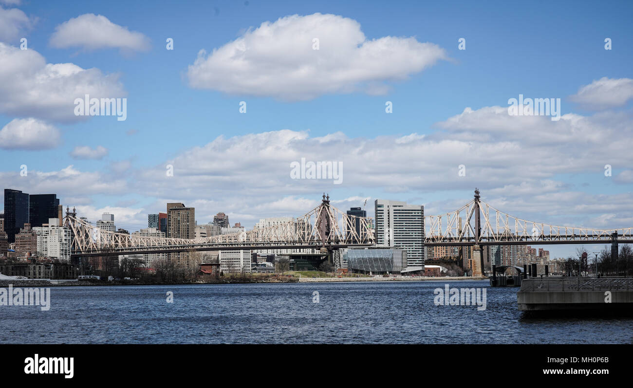 A view of The Ed Koch Queensboro Bridge in New York City in the United States. From a series of travel photos in the United States. Photo date: Thursd Stock Photo