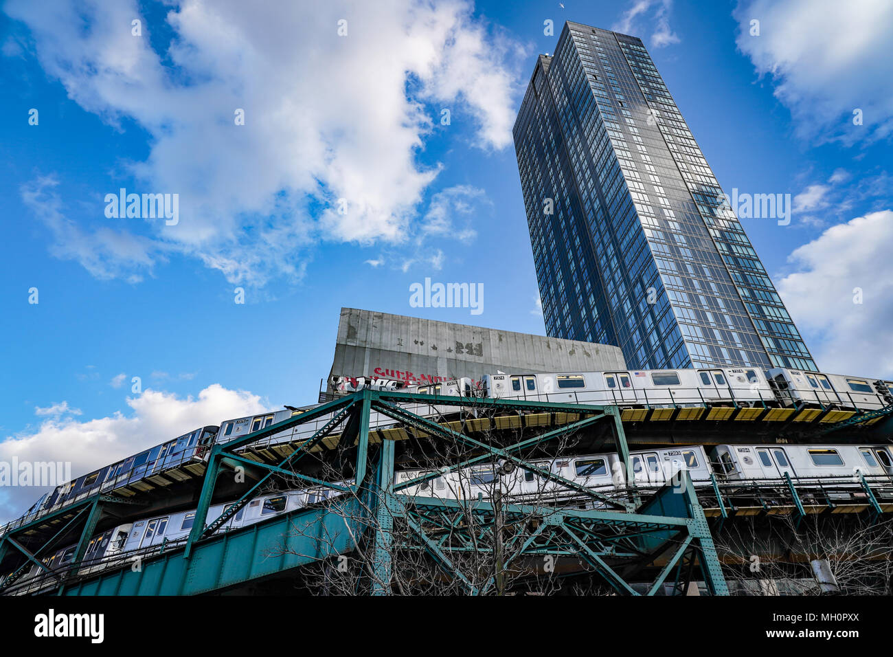 A view of the overground subway near Ed Koch Queensboro Bridge in New York City in the United States. From a series of travel photos in the United Sta Stock Photo