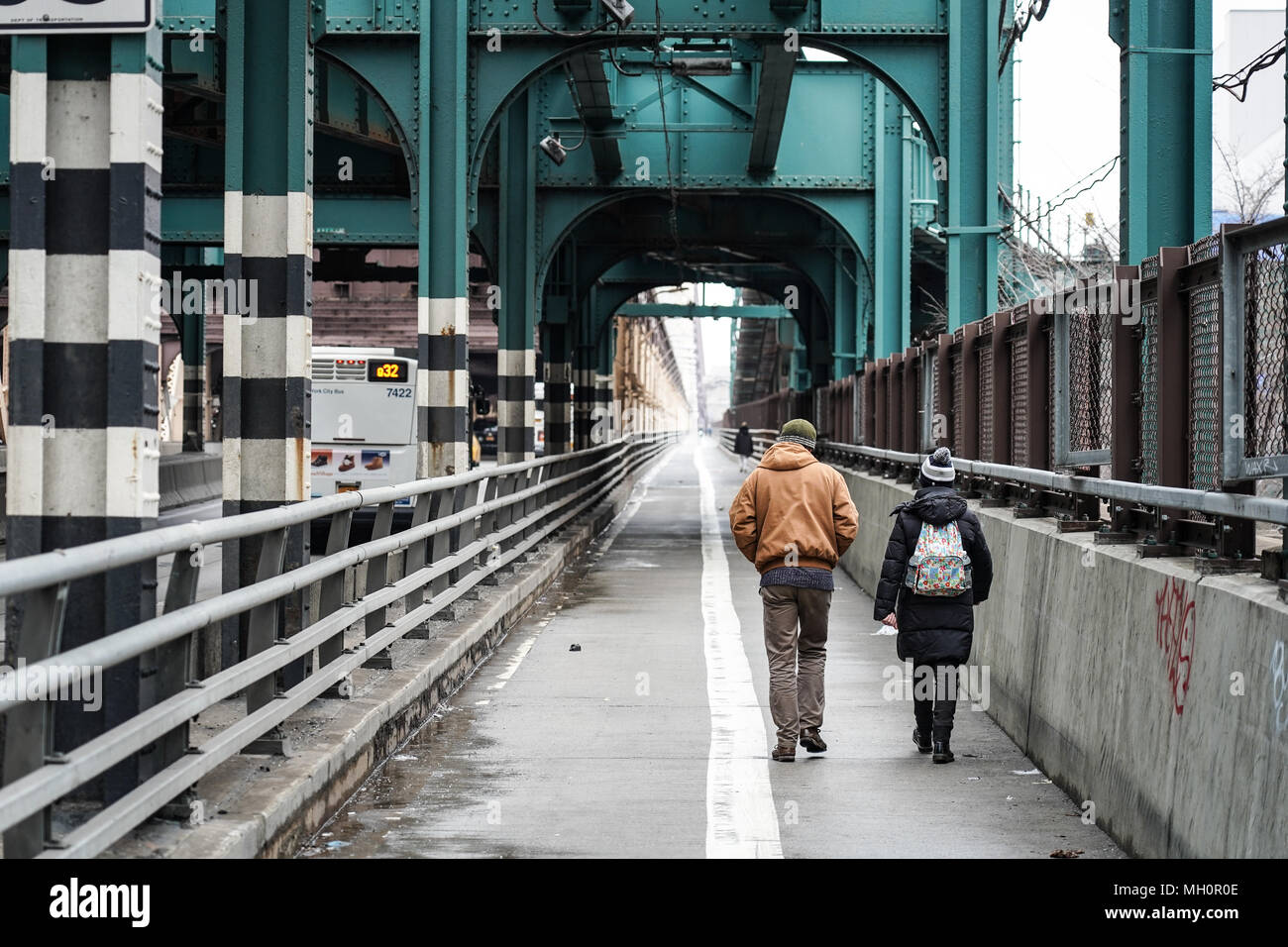 A view of pedestrians on the Ed Koch Queensboro Bridge in New York City in the United States. From a series of travel photos in the United States. Pho Stock Photo