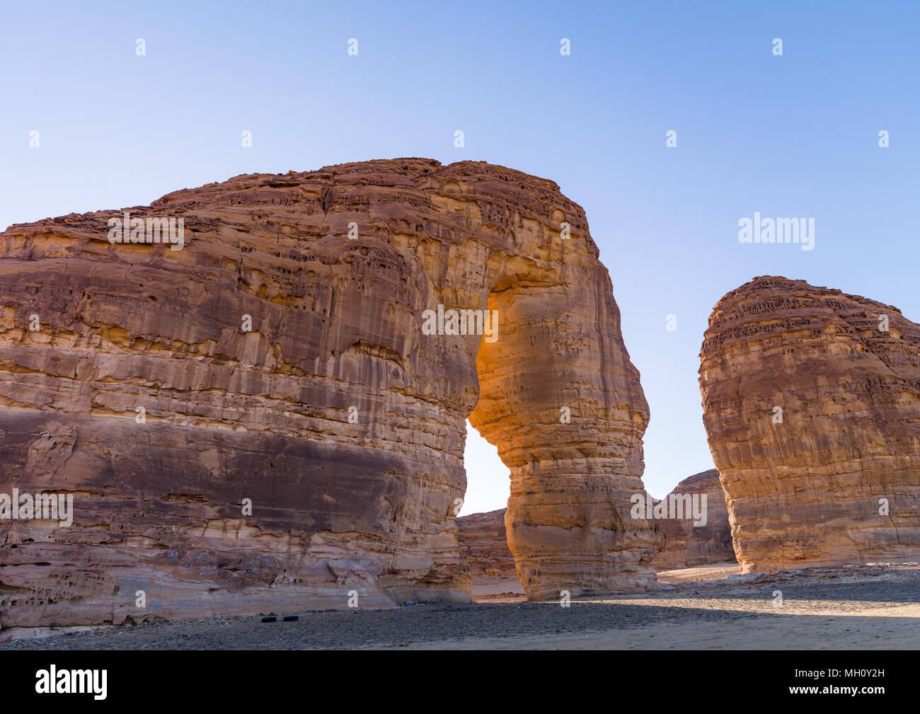 Elephant rock in madain saleh archaeologic site, Al Madinah Province, Al-Ula, Saudi Arabia - Stock Image