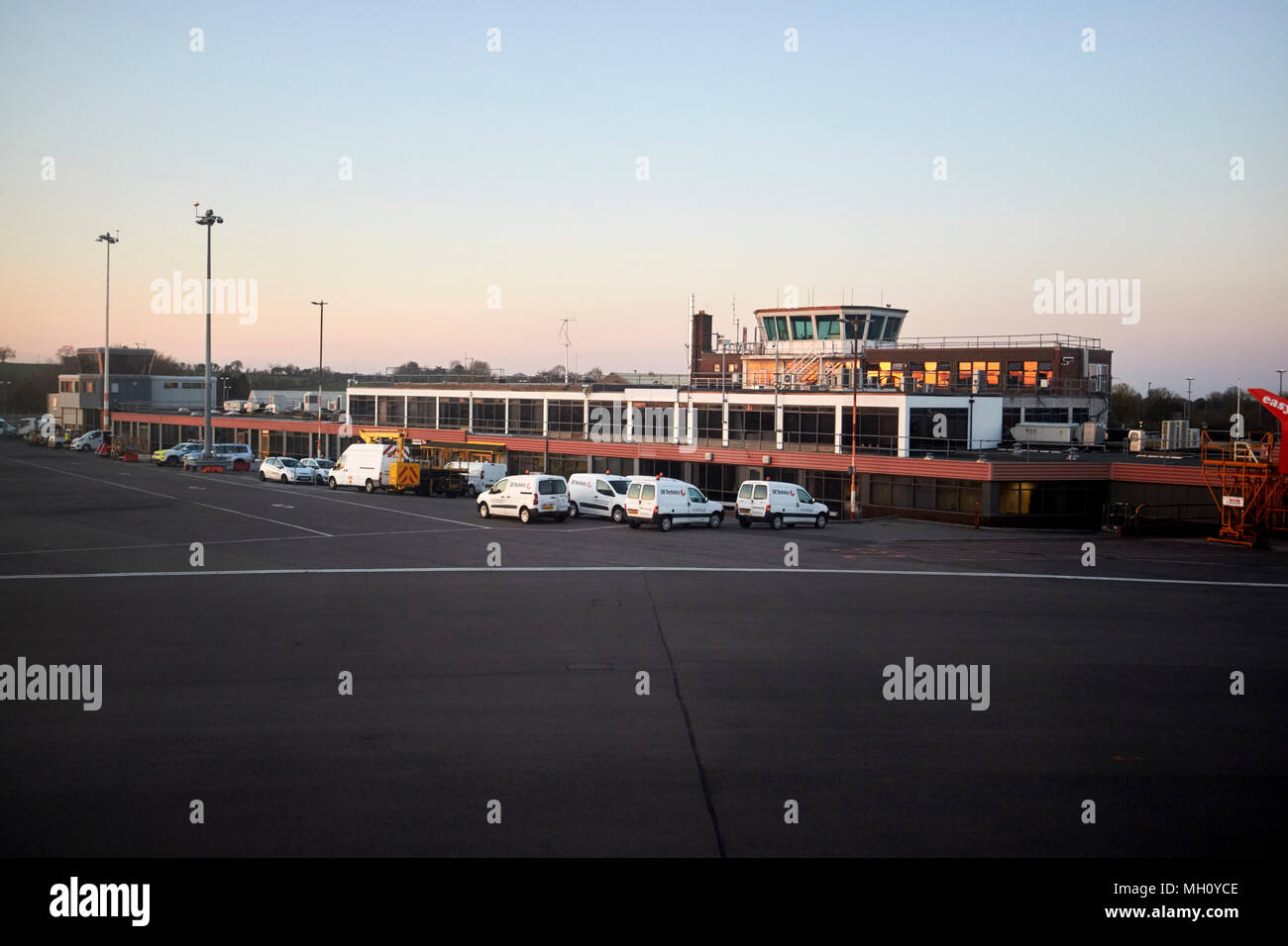 SR Technics civil aviation services at bristol airport england uk - Stock Image