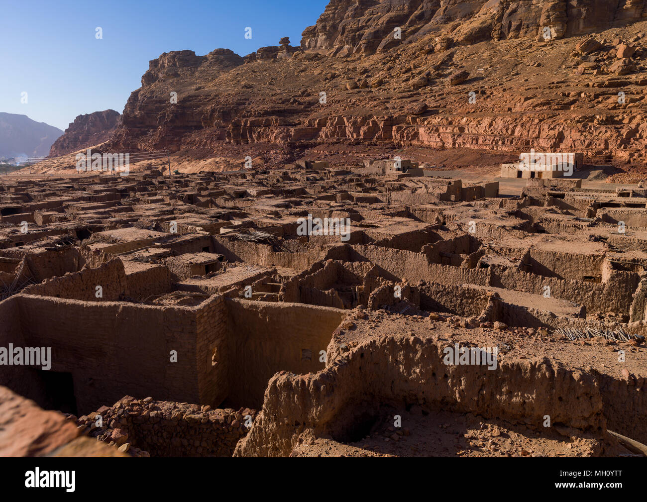 Al-ula old town with adobe houses, Al Madinah Province, Al-Ula, Saudi Arabia - Stock Image