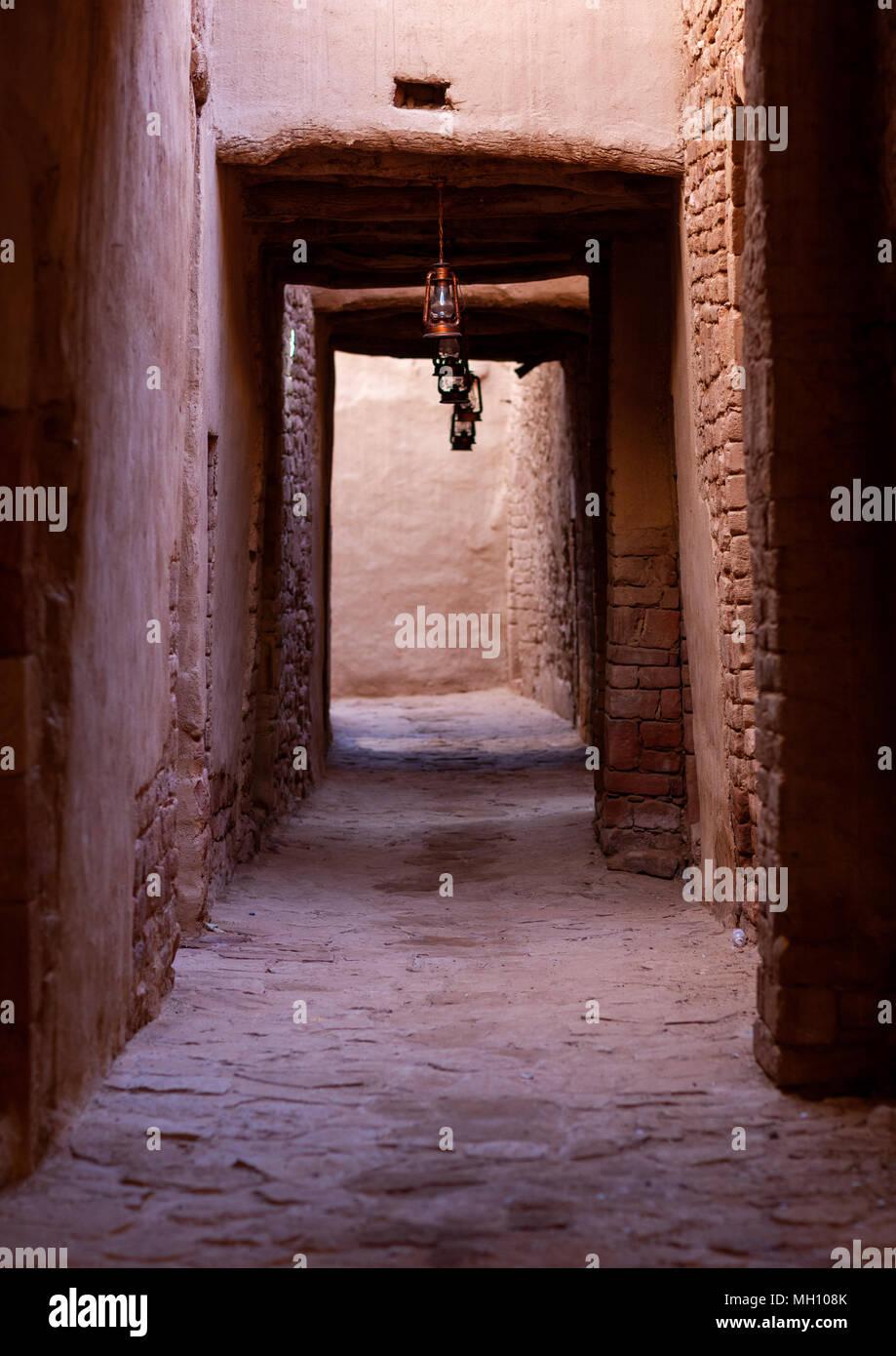 Alley in the old town, Al Madinah Province, Al-Ula, Saudi Arabia - Stock Image