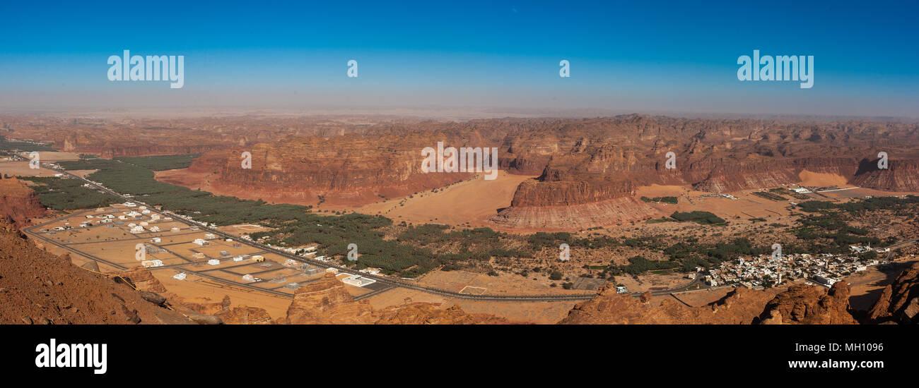 Elevated view of al-ula town and oasis, Al Madinah Province, Al-Ula, Saudi Arabia - Stock Image