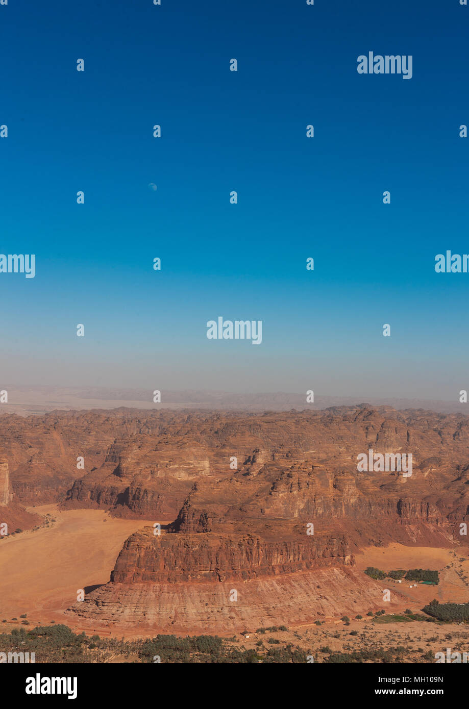 Elevated view of al-ula landscape, Al Madinah Province, Al-Ula, Saudi Arabia - Stock Image