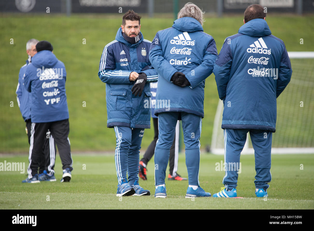 Sergio Aguero, a member of the Manchester City FC and Argentina national football squads, attends a training session at the Etihad Stadium in Manchest - Stock Image