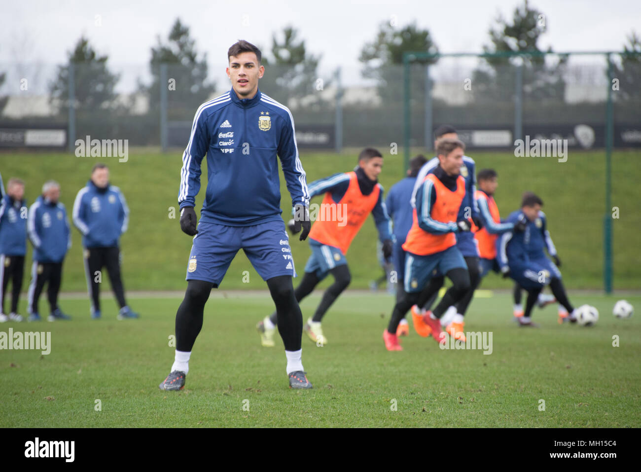 Marcos Rojo, a member of the Manchester United FC and Argentina national football squads, attends a training session at the Etihad Stadium in Manchest - Stock Image