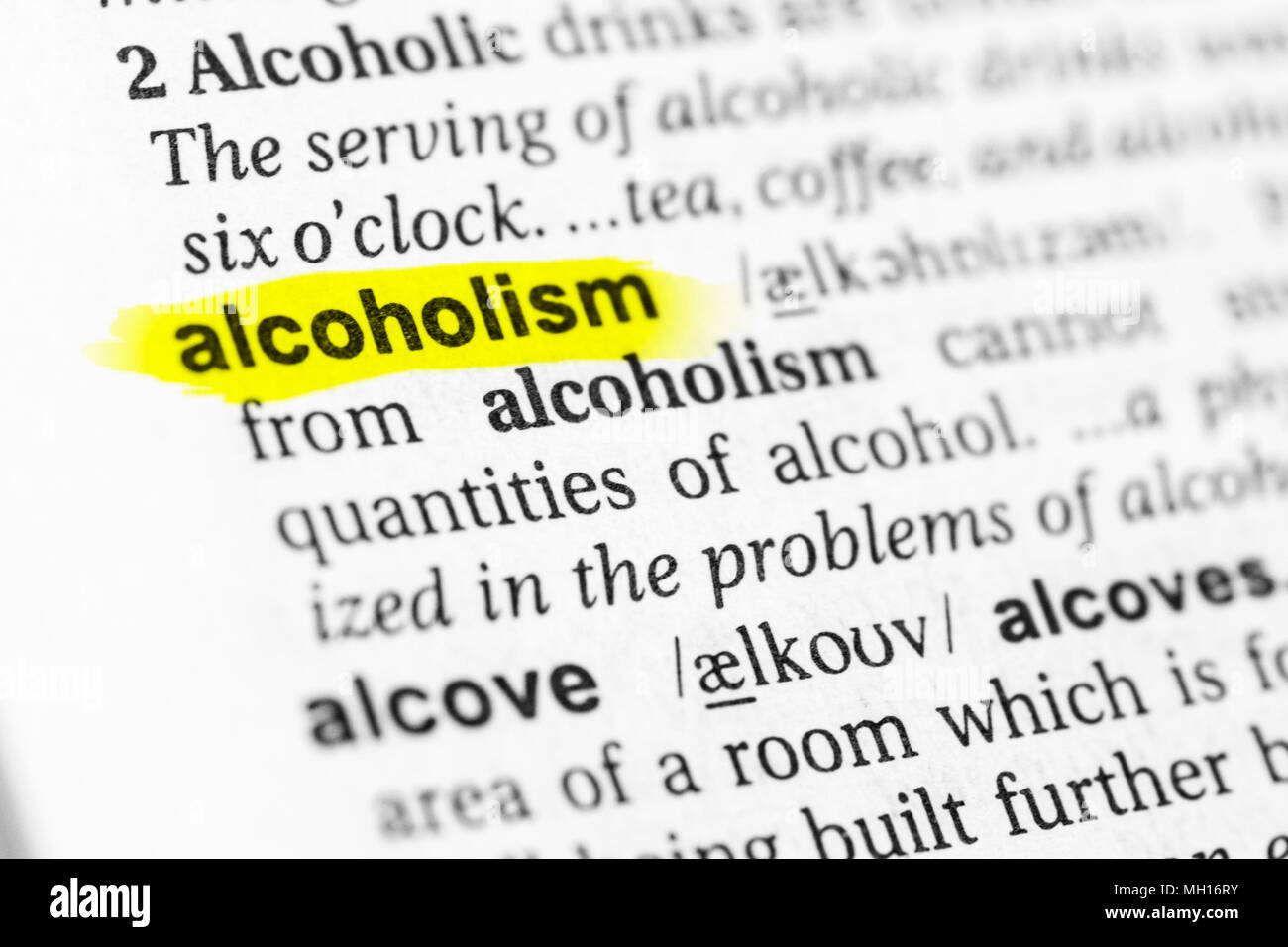 "highlighted english word ""alcoholism"" and its definition in the"
