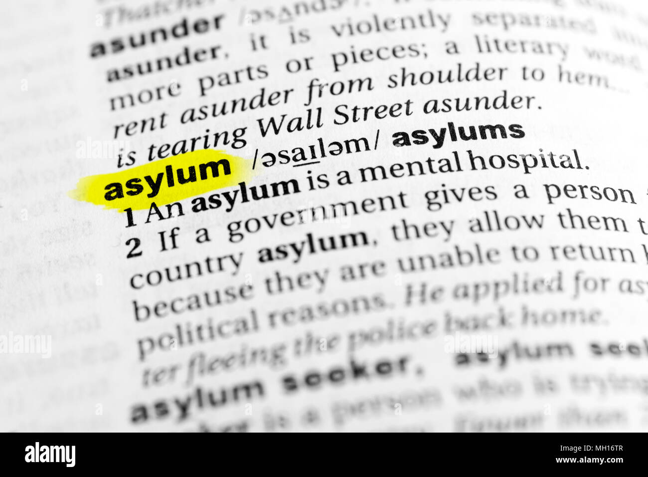 "highlighted english word ""asylum"" and its definition in the"