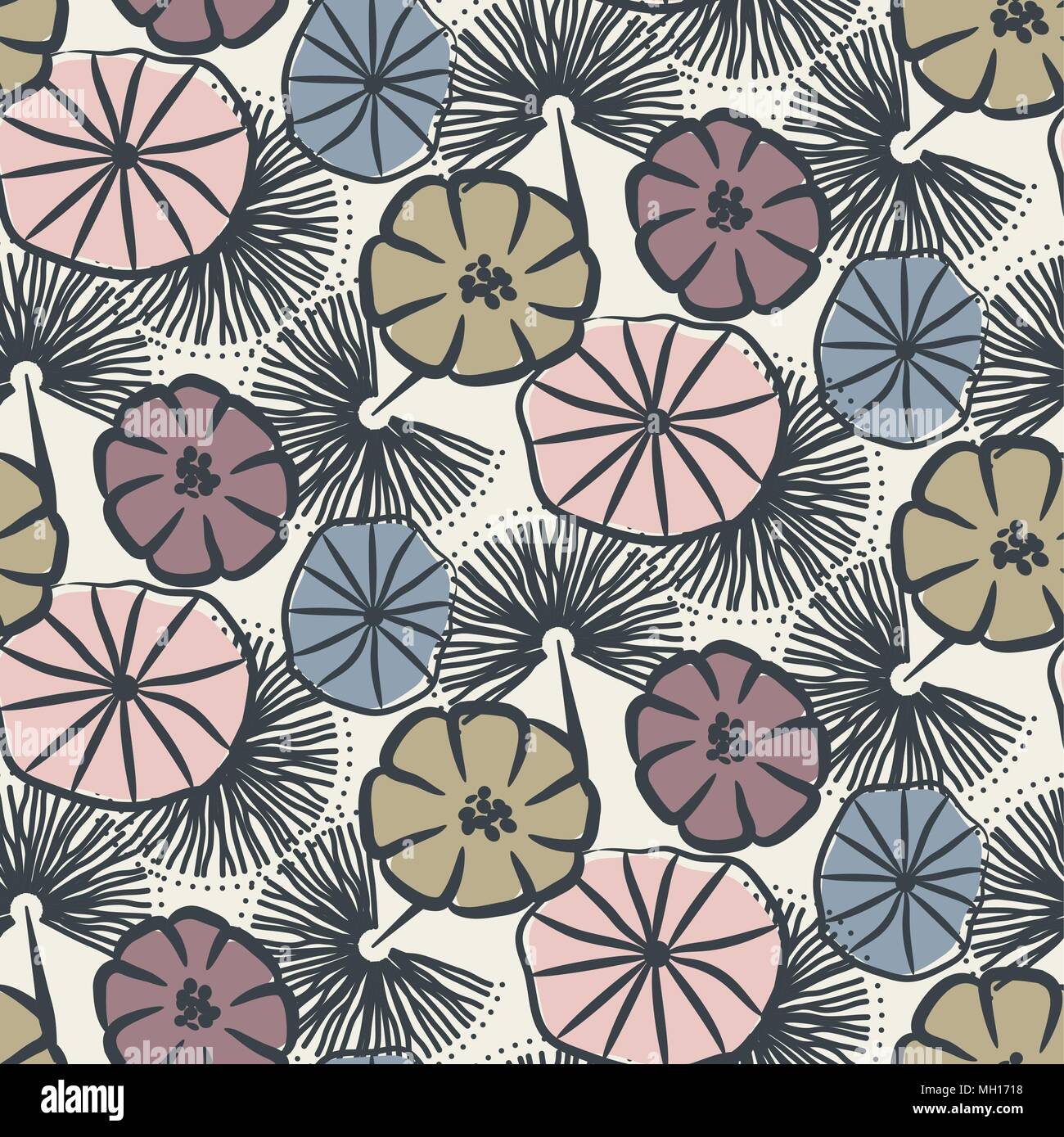 Flower seamless vector pattern illustration. - Stock Vector