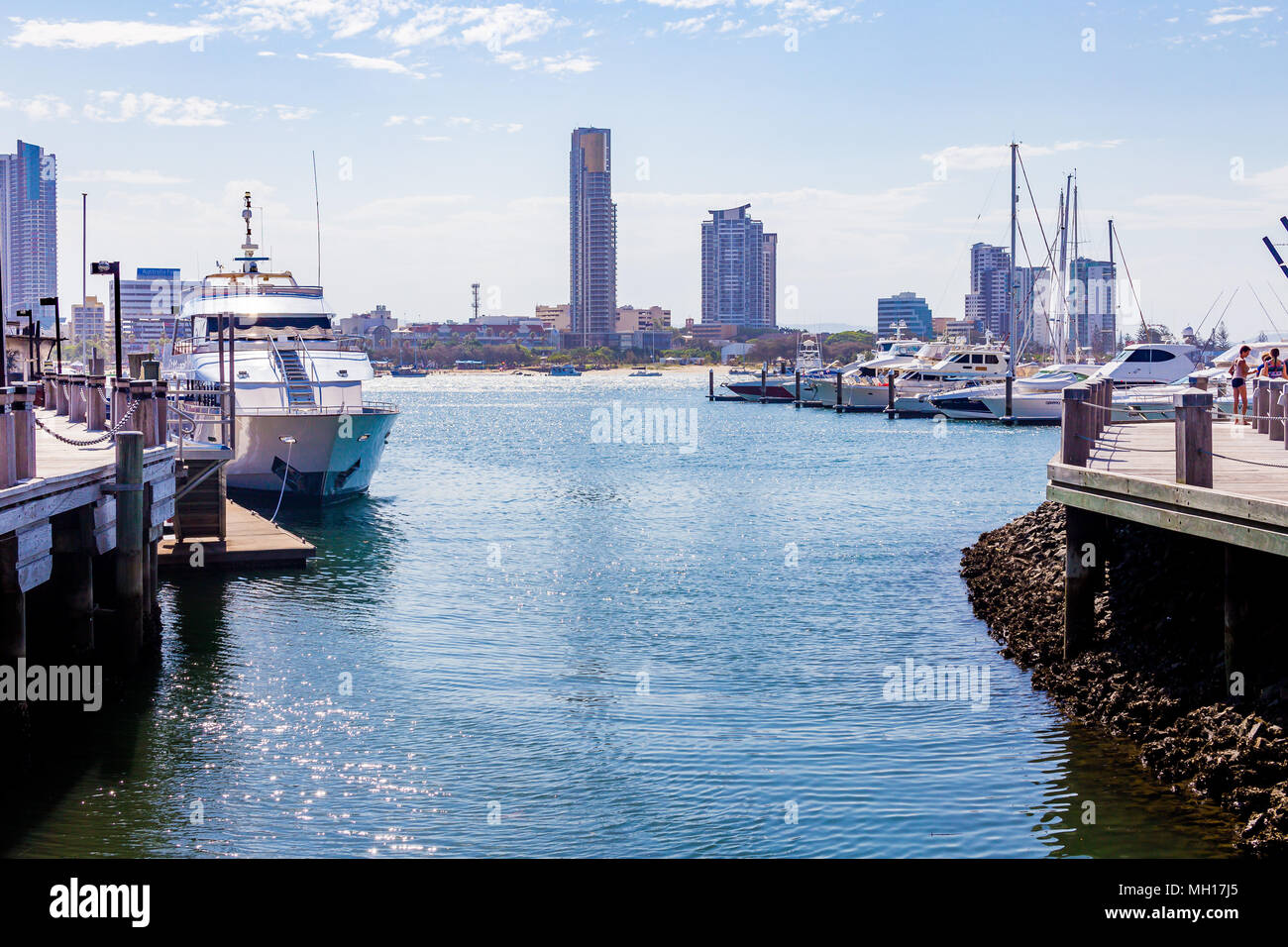 GOLD COAST, AUSTRALIA - January 3rd, 2014: detail of the Marina Mirage area in SUrfers Paradise, a popular shopping and entertainement destination on  - Stock Image