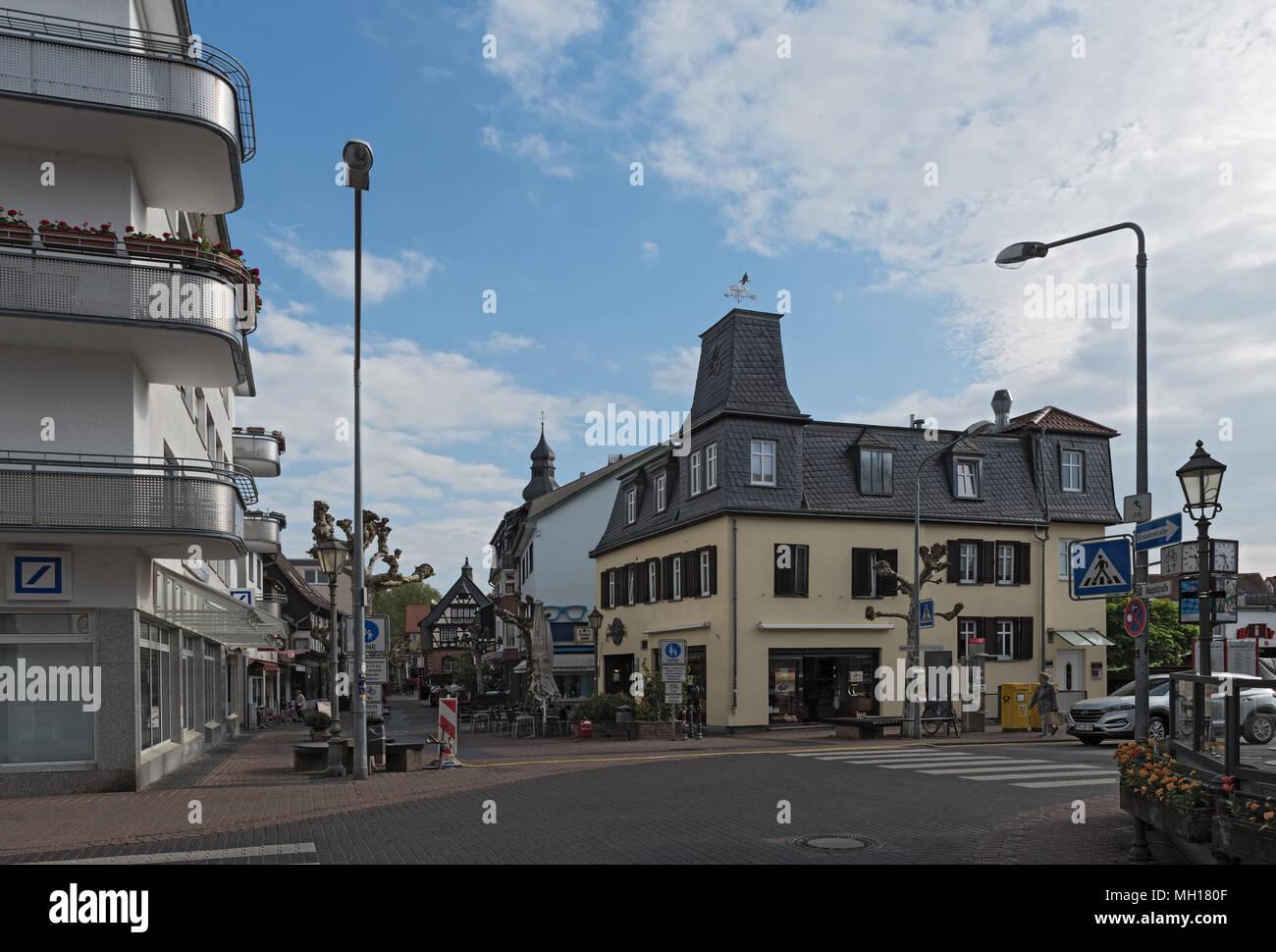 Pedestrian zone corner street at the Untertor, Hofheim am Taunus, Germany - Stock Image