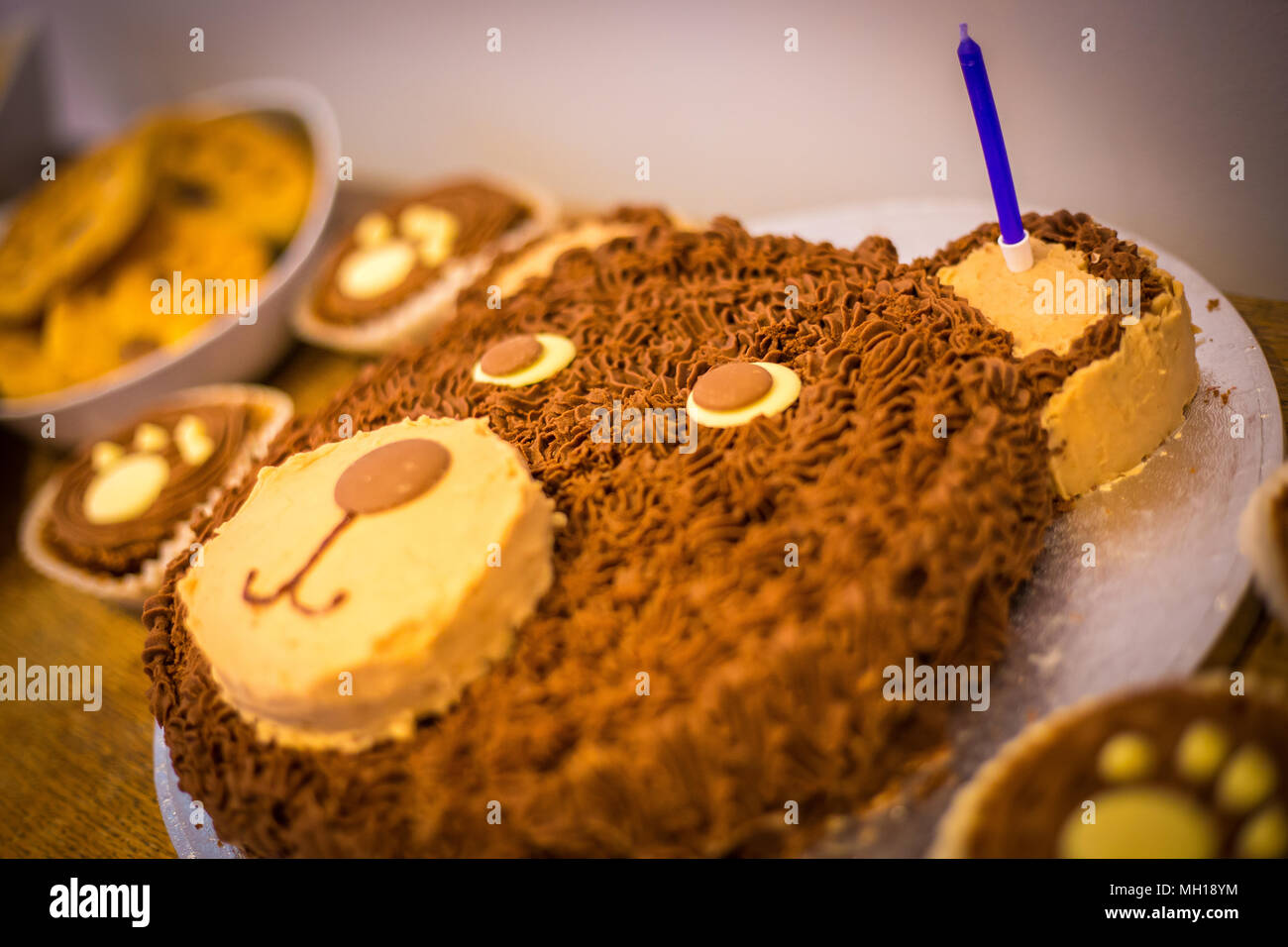 Amazing Childrens Teddy Bear Birthday Cake With One Candle Stock Photo Birthday Cards Printable Nowaargucafe Filternl