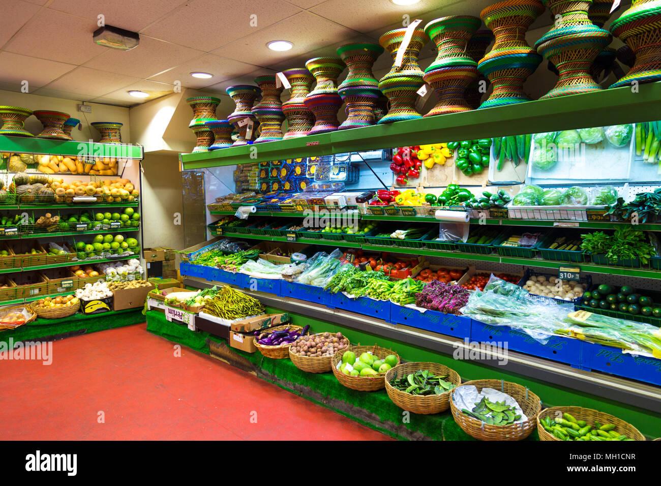 Interior of an oriental supermarket in Brick Lane, home to a big Bangladeshi community, London, UK - Stock Image