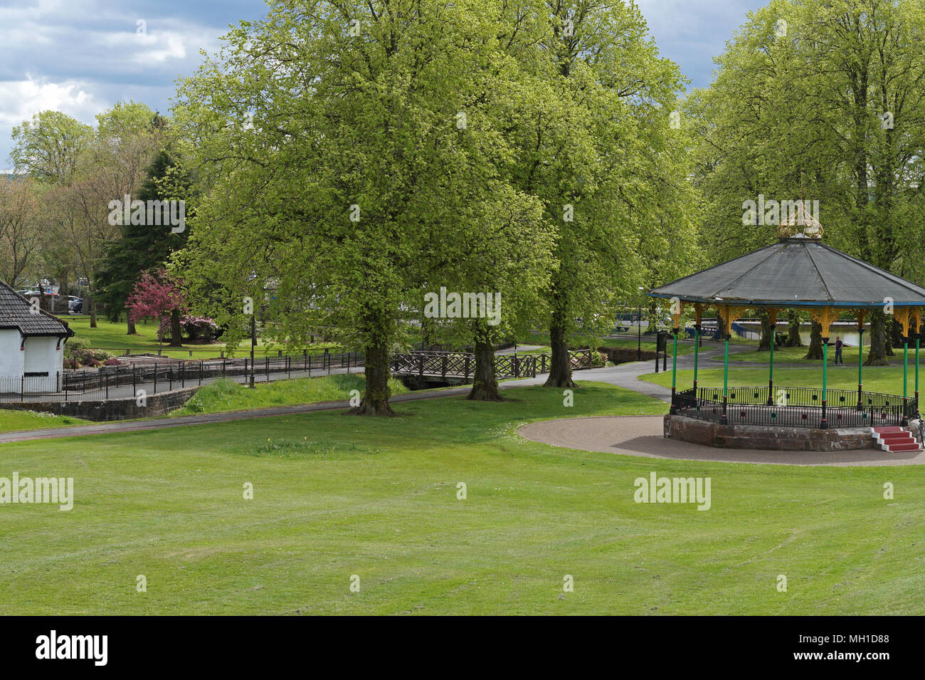Strathaven Park Bandstand, John Hastie Park, South Lanarkshire on a Sunny Day Stock Photo