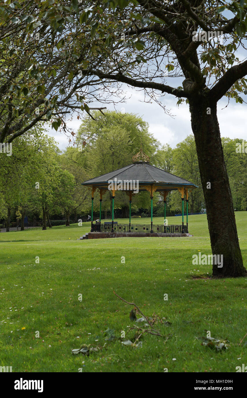Strathaven Park Bandstand, John Hastie Park, South Lanarkshire on a Sunny Day - Stock Image