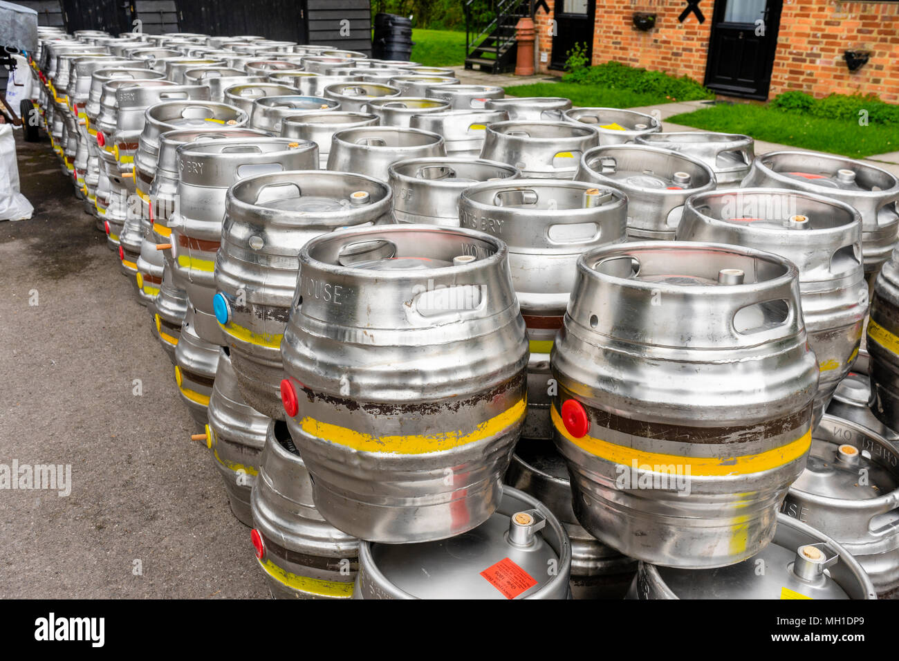 Alamy & Rows of aluminium beer barrels outside the Flower Pots ...