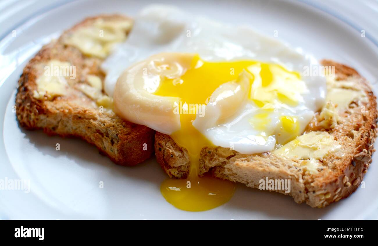 Perfect runny poached egg on brown seeded toast - Stock Image