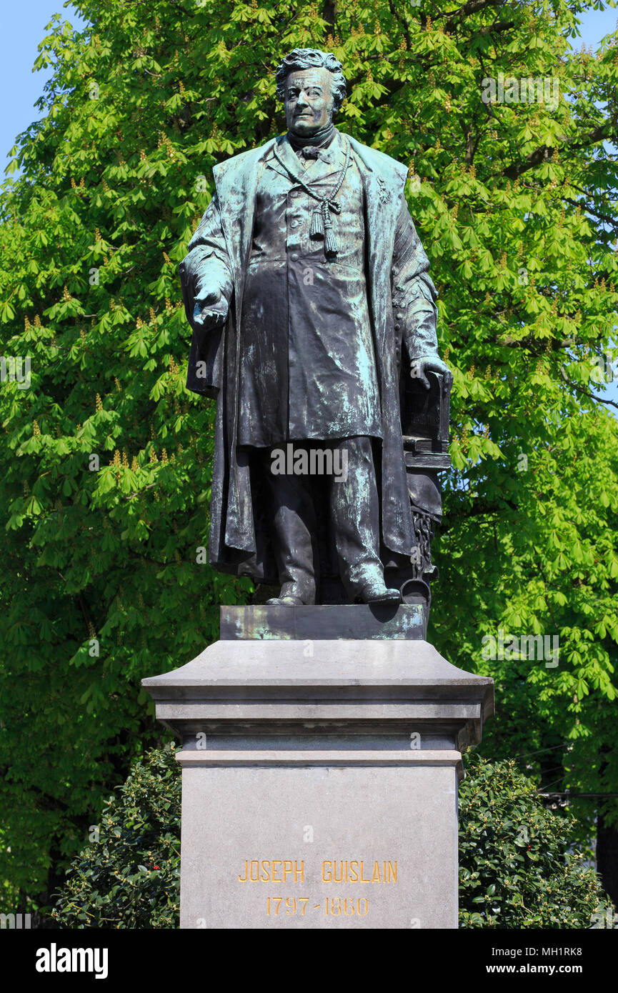 Monument to the Belgian physician and pioneer in psychiatry Joseph Guislain (1797-1860) in Ghent, Belgium - Stock Image