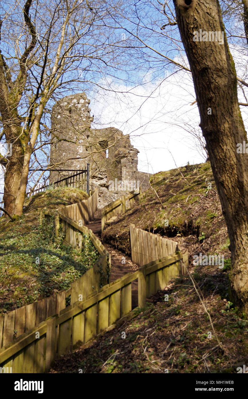 Strathaven Castle Turret from back with stairs and staircase leading up to the back of the Castle.  Castle Ruins in South Lanarkshire - Stock Image