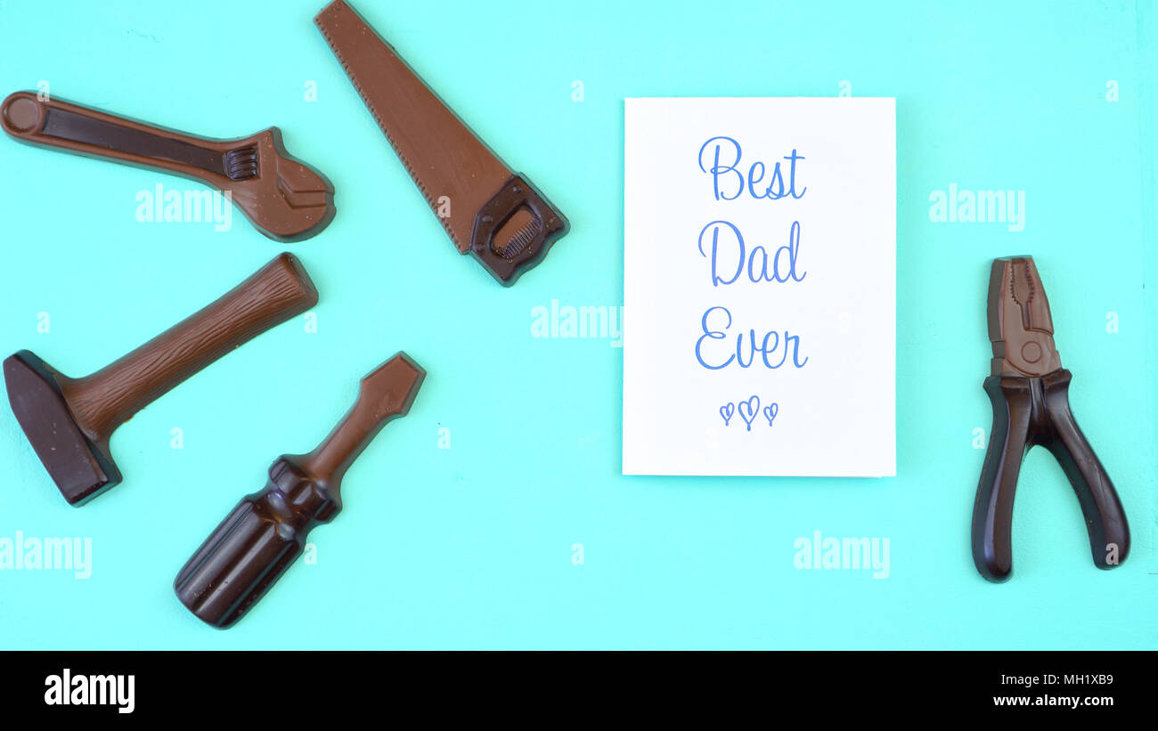 Happy Father's Day overhead of chocolate tool set with Best Dad Ever