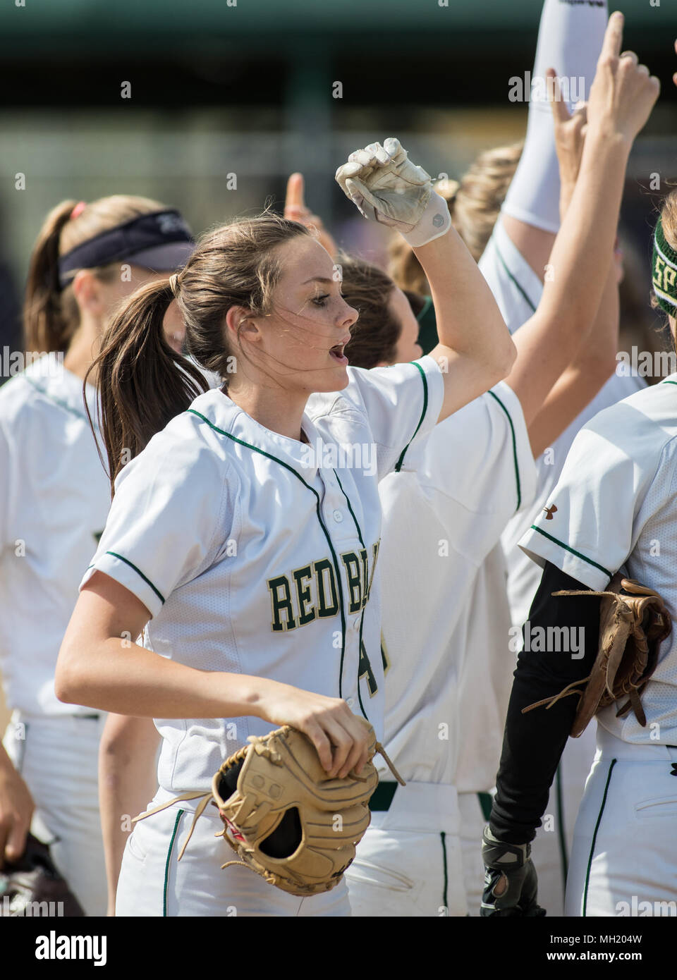 Softball action with Red Bluff vs. Shasta High School in Red Bluff, California. - Stock Image