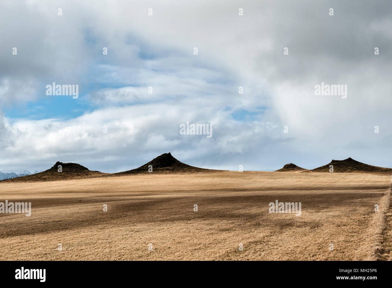 South Iceland, near Kirkjubæjarklaustur on the Ring Road. An area of rootless cones or pseudocraters, formed when lava flows over wet ground - Stock Image