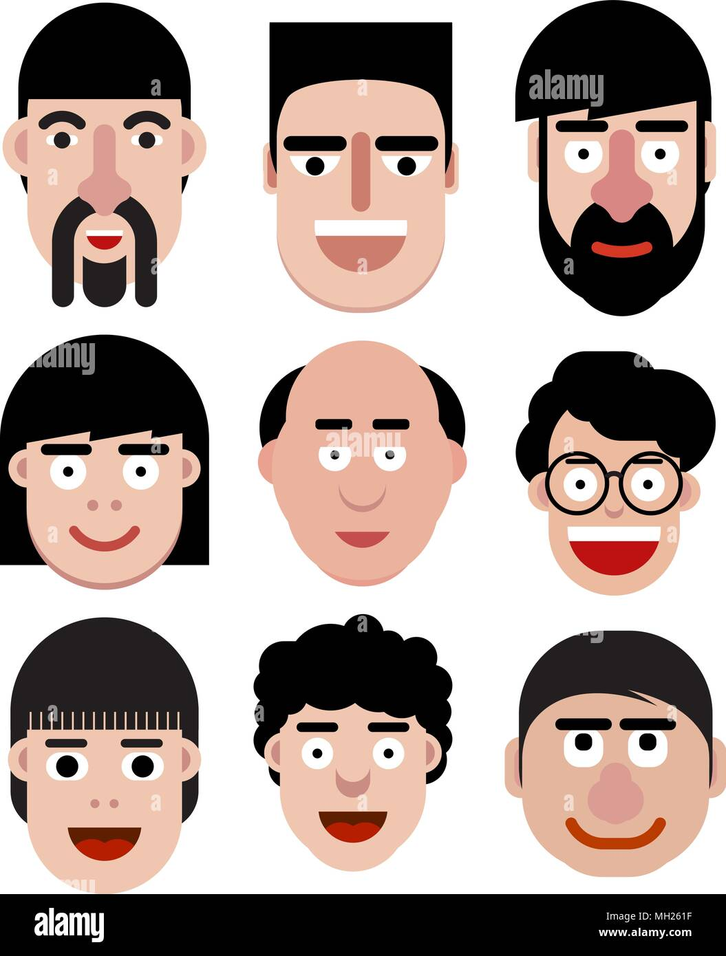 Outstanding Set Of Cartoon Vector Men Faces In Very Simple Style Stock Vector Natural Hairstyles Runnerswayorg