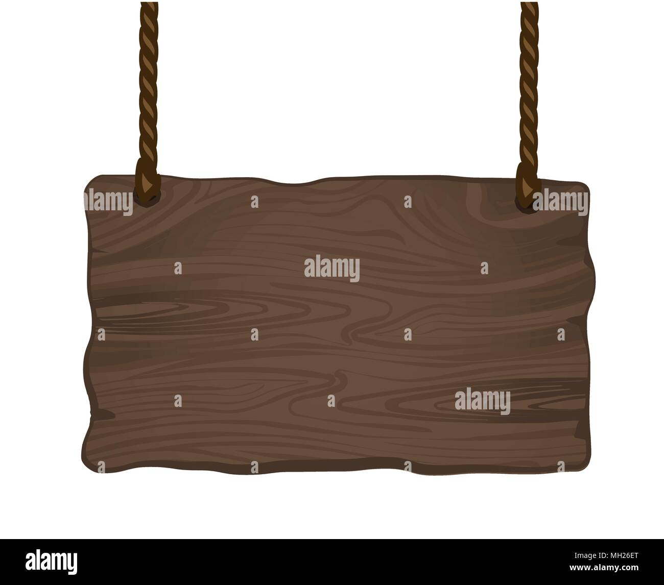 Old wooden sign with pair of ropes, detailed vector illustration. - Stock Vector