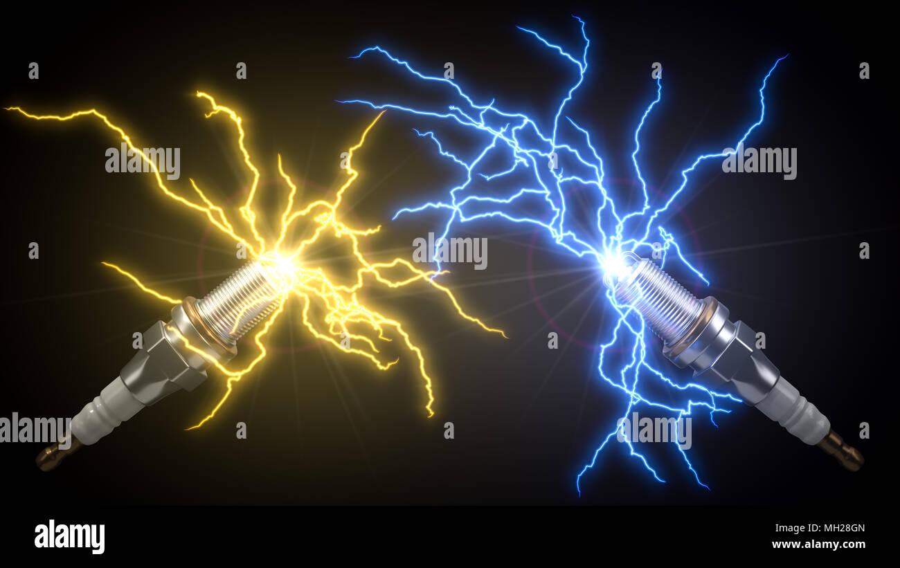 automotive spark plug. with electric arcs. 3d illustration Stock Photo