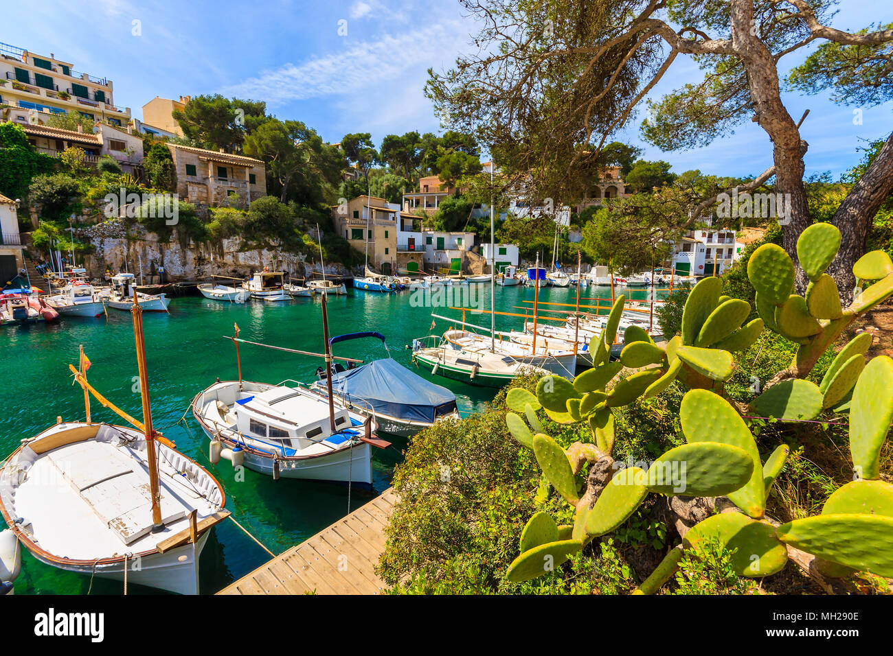 Typical fishing boats in beautiful port, Cala Figuera village, Majorca island, Spain - Stock Image