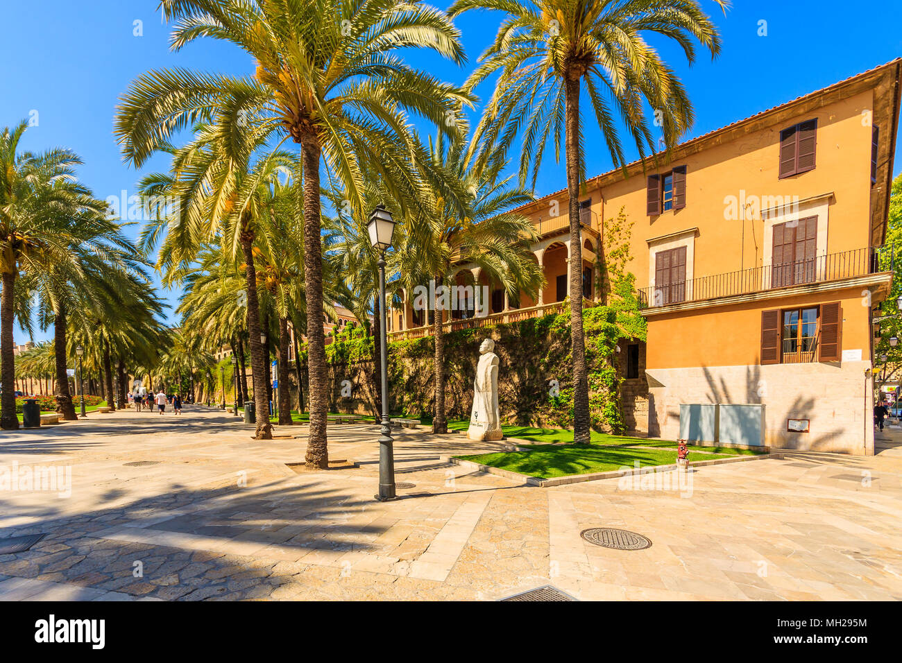 MAJORCA ISLAND, SPAIN - APR 13, 2013: Colorful historic buildings in old town of Palma de Majorca, capital of the island, very popular tourist destina - Stock Image
