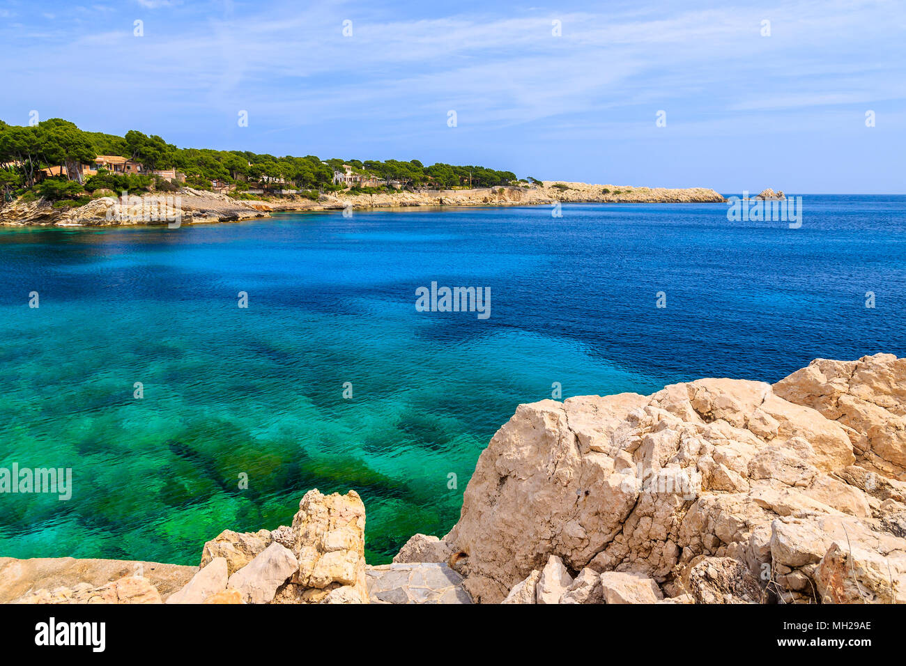 View of beautiful Cala Gat bay with azure sea water, Majorca island, Spain - Stock Image