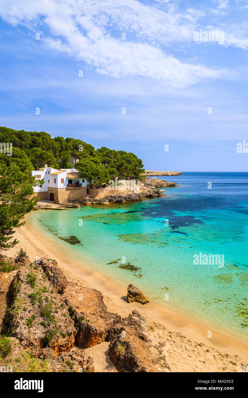 View of beautiful Cala Gat bay with beach, Majorca island, Spain - Stock Image