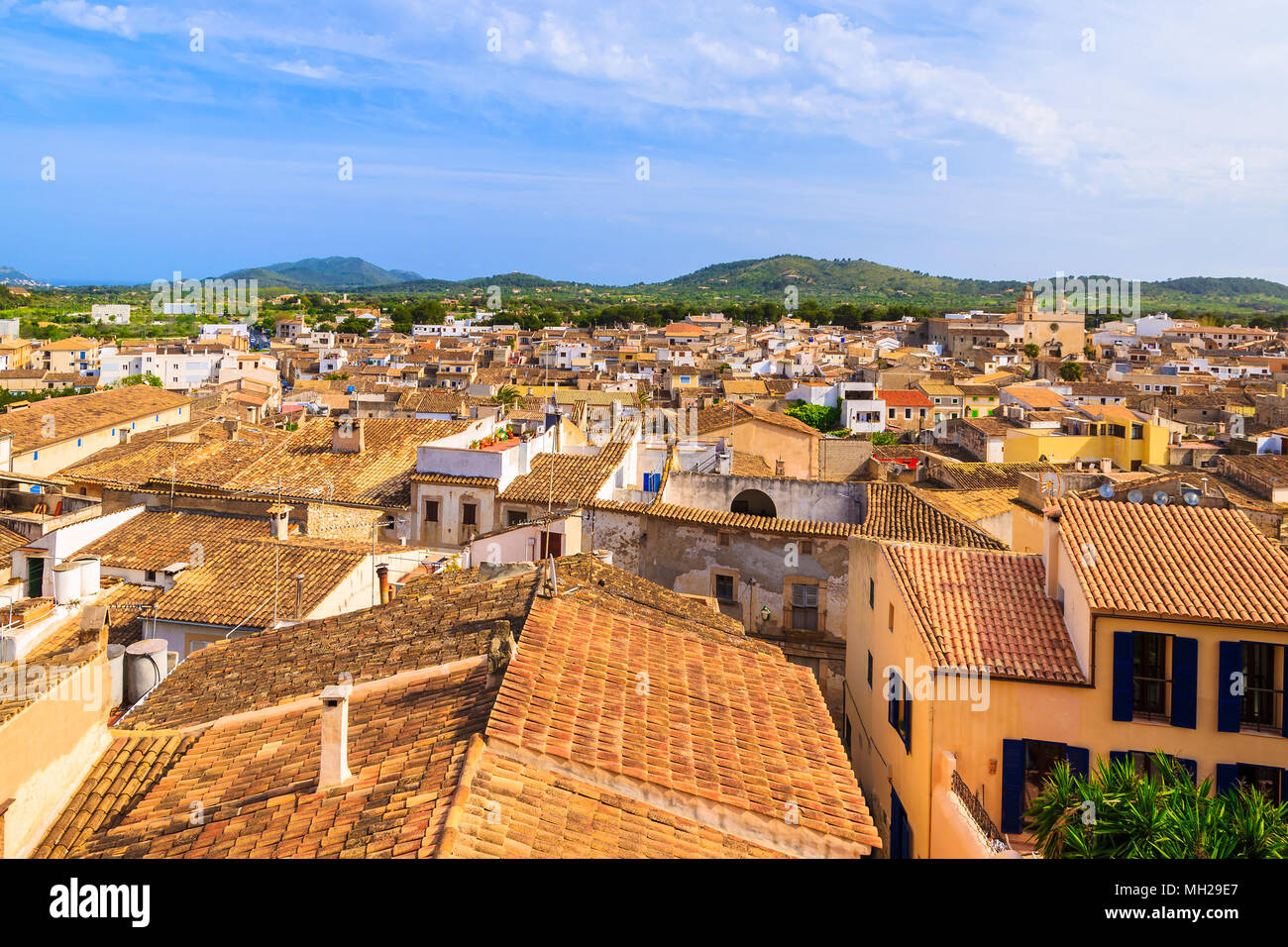Rooftops of typical houses in Arta town, Majorca island, Spain - Stock Image