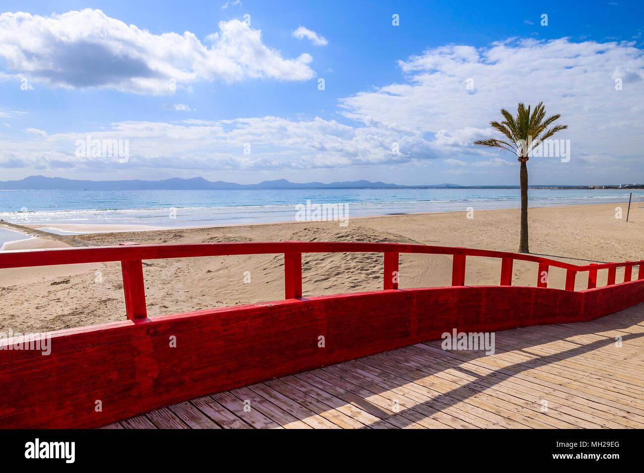 Footbridge on Alcudia beach, Majorca island, Spain - Stock Image