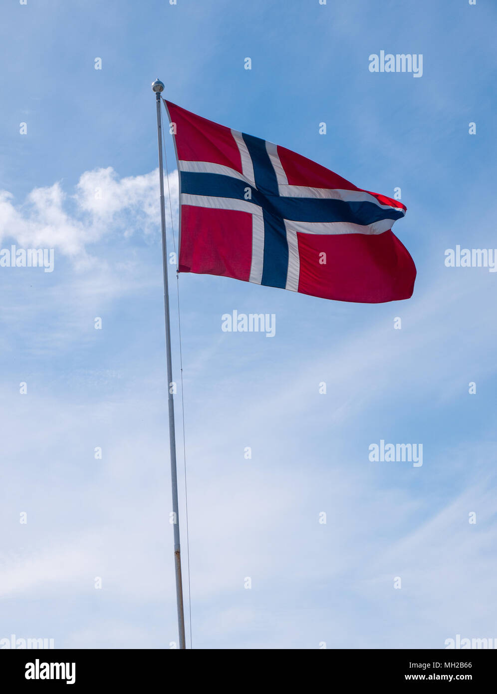 Norwegian flags, in a parade for Norwegian Constitution day, 17th May (syttende mai) Stock Photo