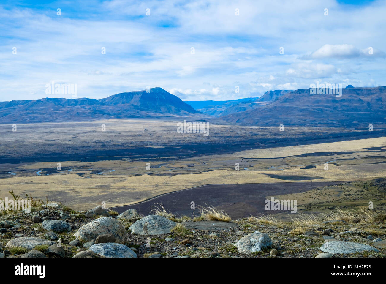 A view of an unearthly landscape near El Calafate, Argentina. The photo is taken during an excursion upto the hill 'Cerro Frías'. - Stock Image