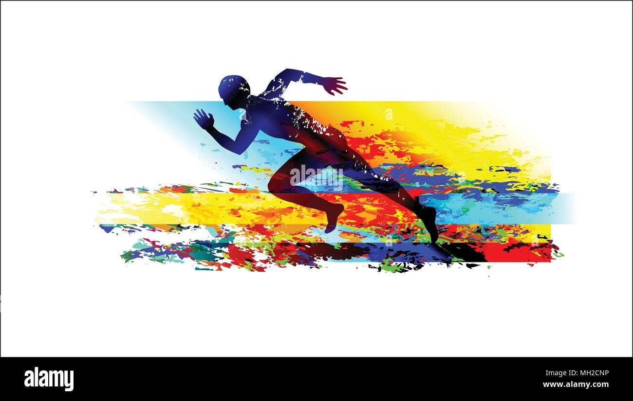 running man sprinter sports background stock vector art