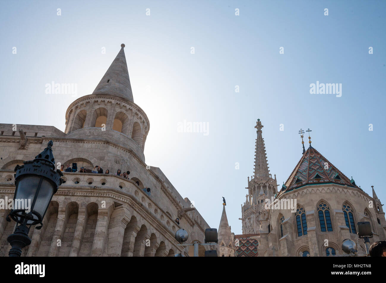 BUDAPEST, HUNGARY - APRIL 8, 2017: Fisherman's Bastion (Halaszbastya) on Budapest castle during the afternoon. This terrace in neo-Gothic and neo-Roma - Stock Image