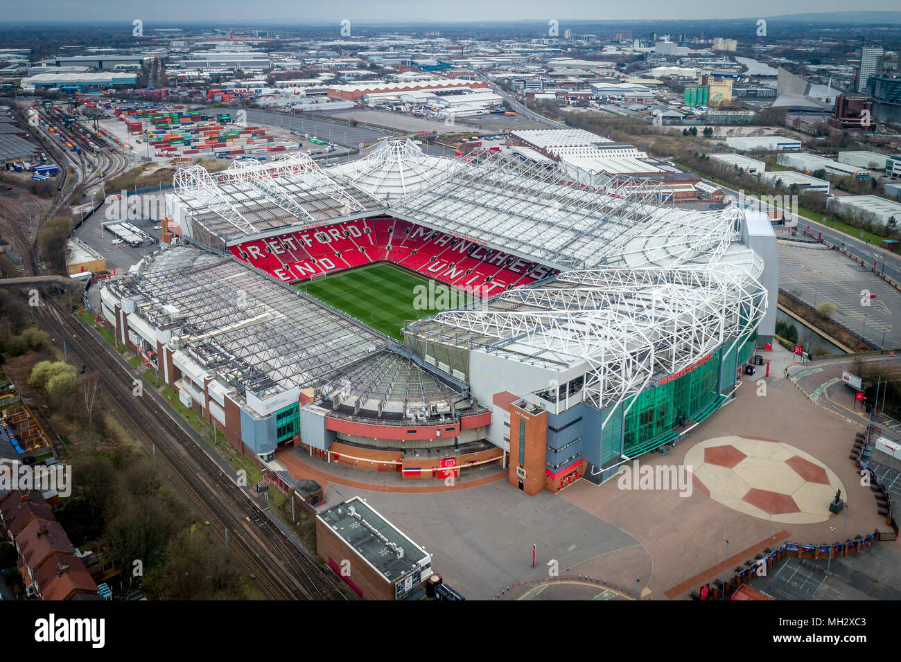 Aerial view of Old Trafford Stadium, home to Manchester United FC - Stock Image
