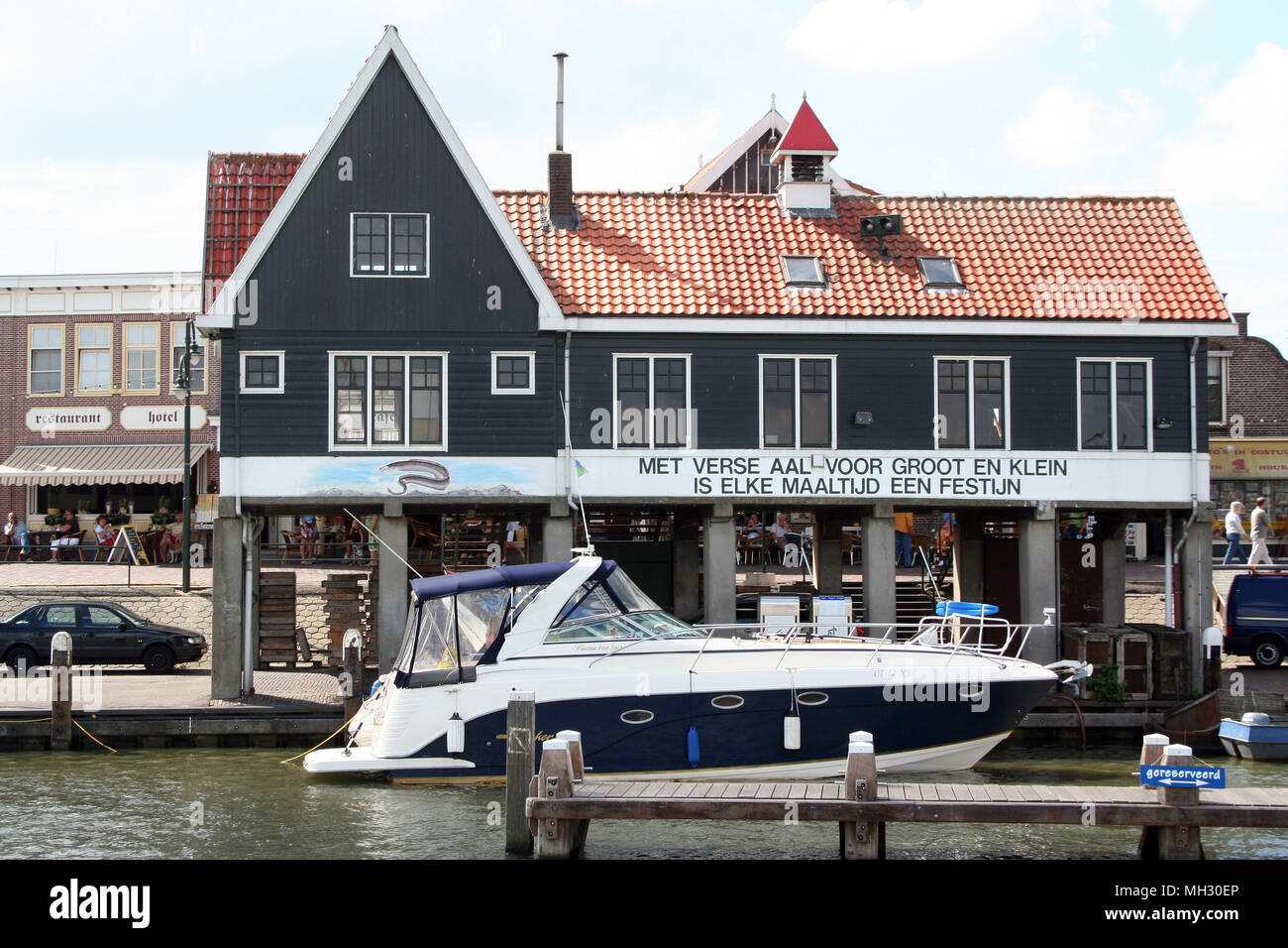 Netherlands,North Holland,Volendam, june 2017: Fish auction in the harbor - Stock Image