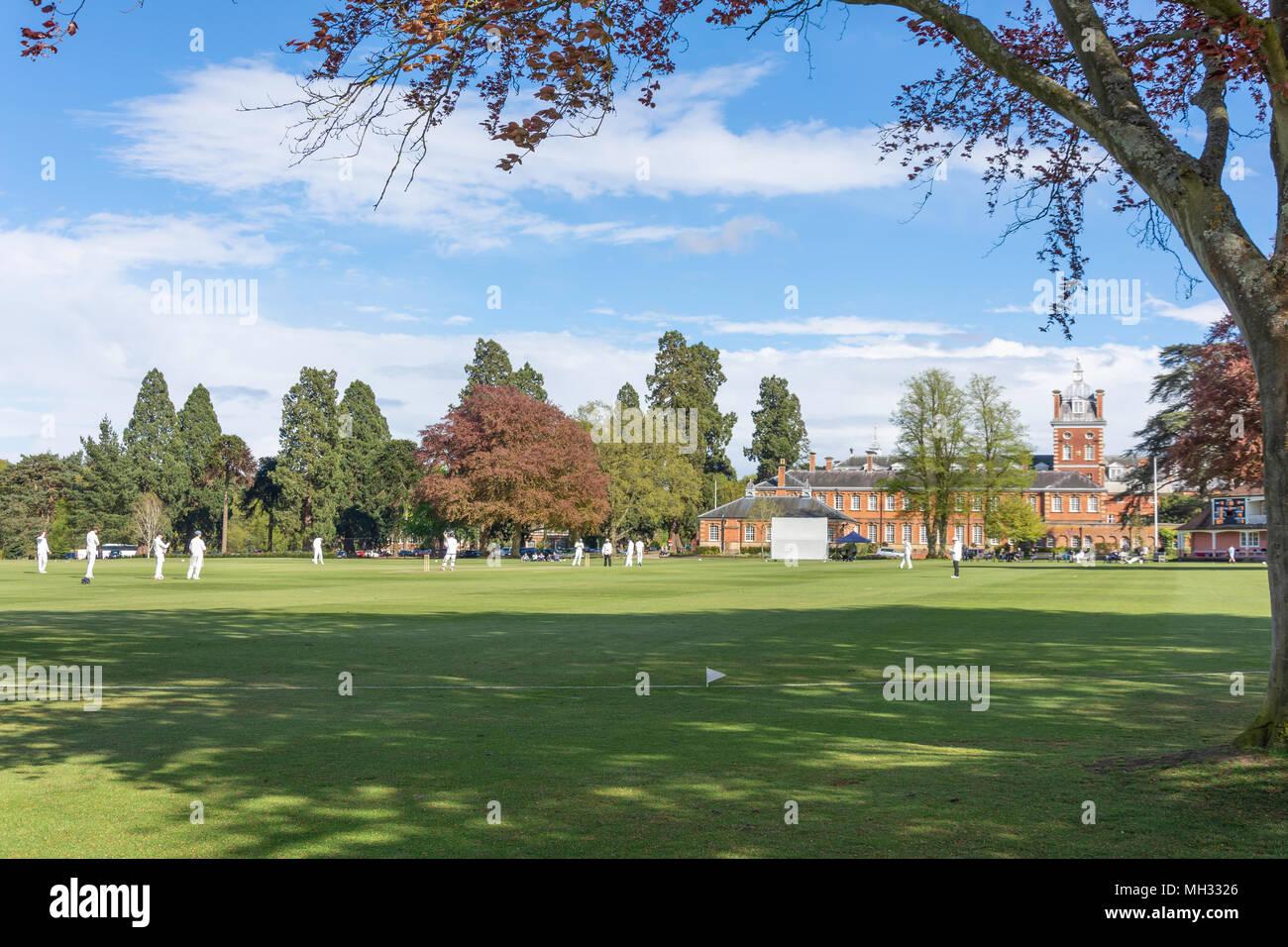 Schools cricket match (Christ's College NZ vs Wellington 1st XI) at Wellington College, Crowthorne, Berkshire, United Kingdom Stock Photo