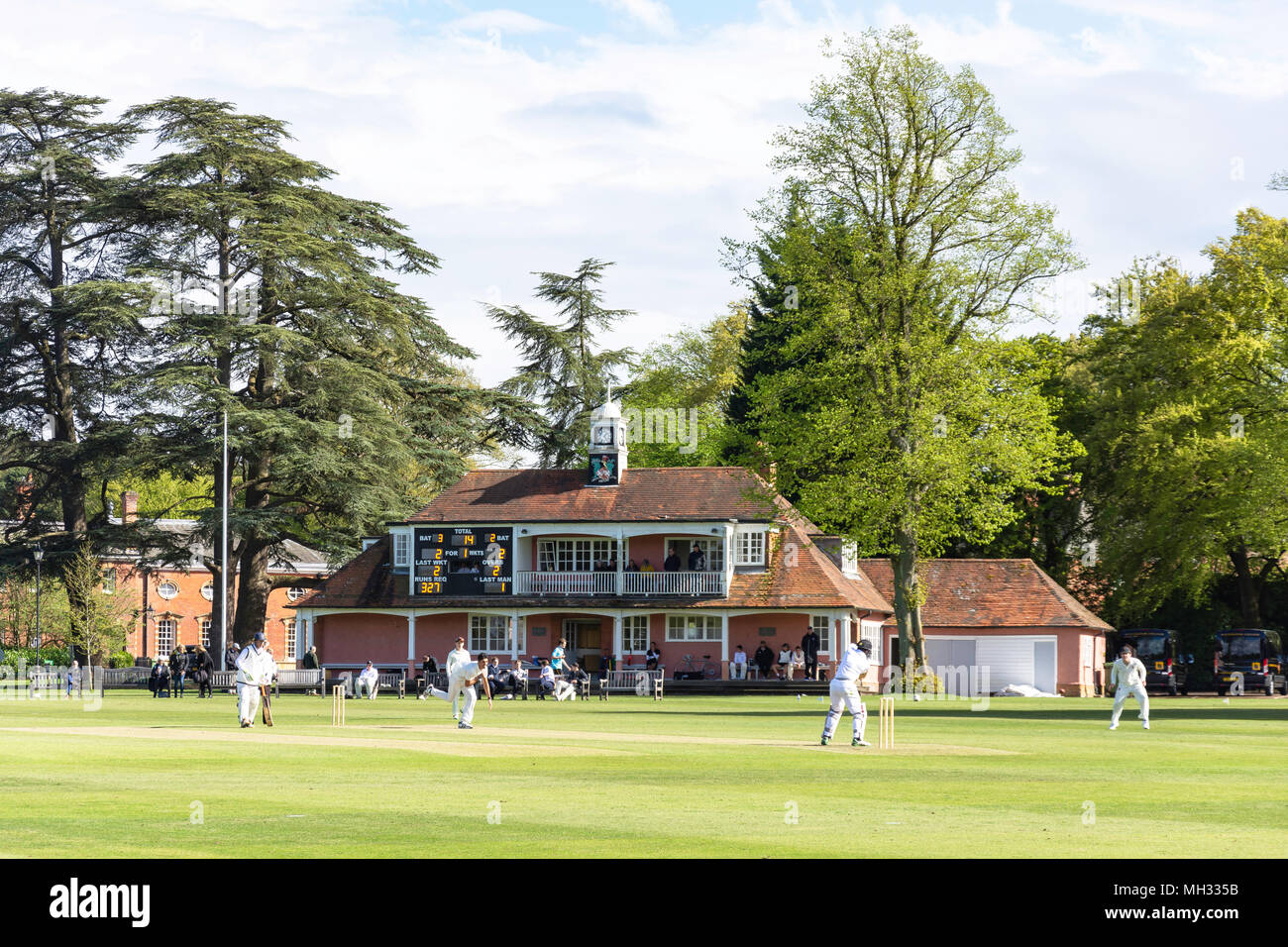 Schools cricket match (Christ's College NZ vs Wellington 1st XI) at Wellington College, Crowthorne, Berkshire, United Kingdom - Stock Image