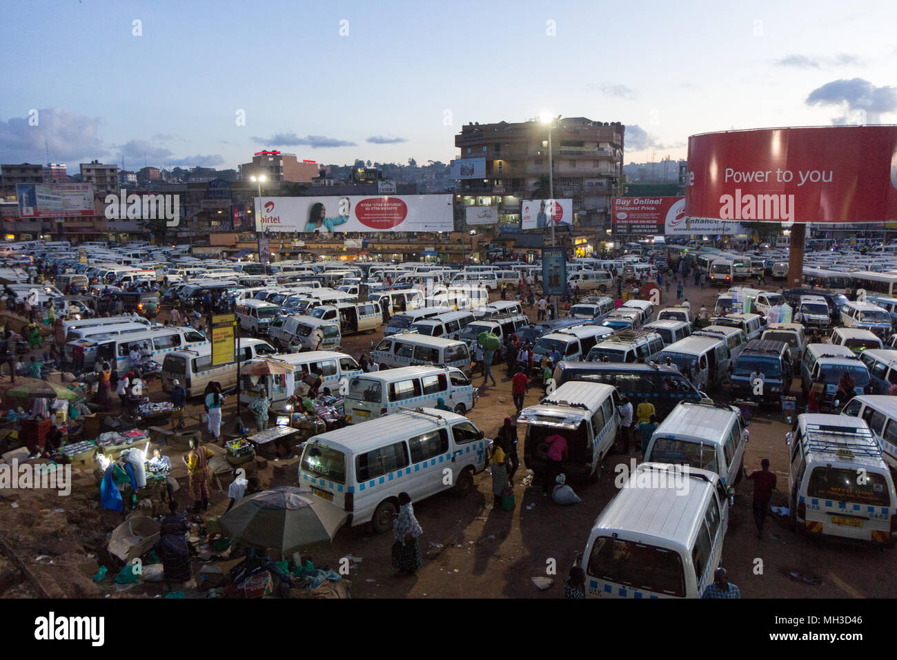 Kampala, Uganda. May 14 2017. A busy and crowded taxi park where countless drivers are seeking customers. Stock Photo