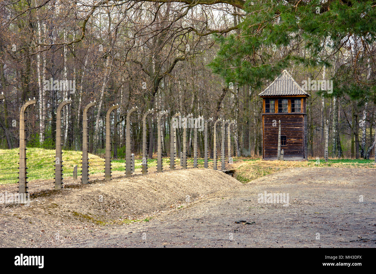 Electric barbed wires of the German nazi concentration and extermination camp world heritage Auschwitz Birkenau, Poland - Stock Image
