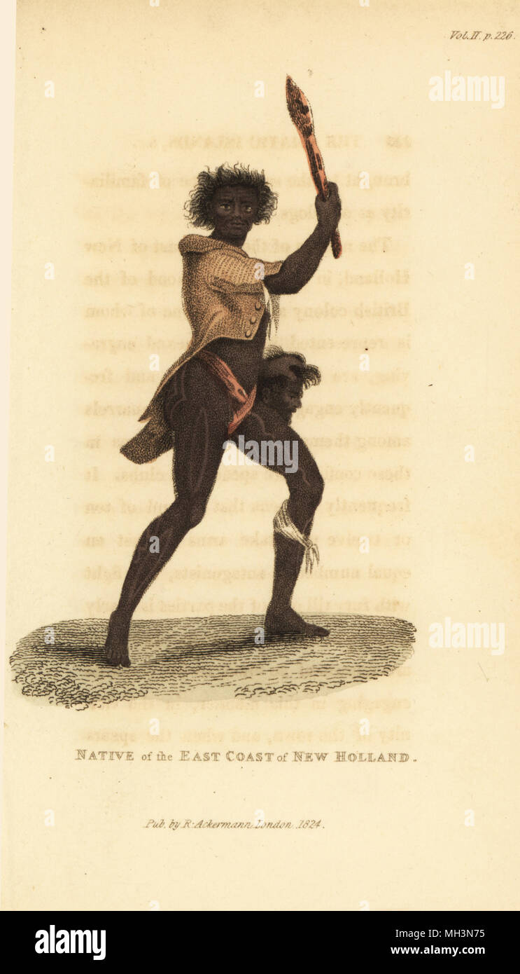 Australian aboriginal with club. Native of the East Coast of New Holland (Port Jackson, Sydney, Australia). Handcoloured copperplate engraving after a sketch by Jacques Arago from Frederic Shoberl's The World in Miniature: The Asiatic Islands and New Holland, R. Ackermann, London, 1824. - Stock Image