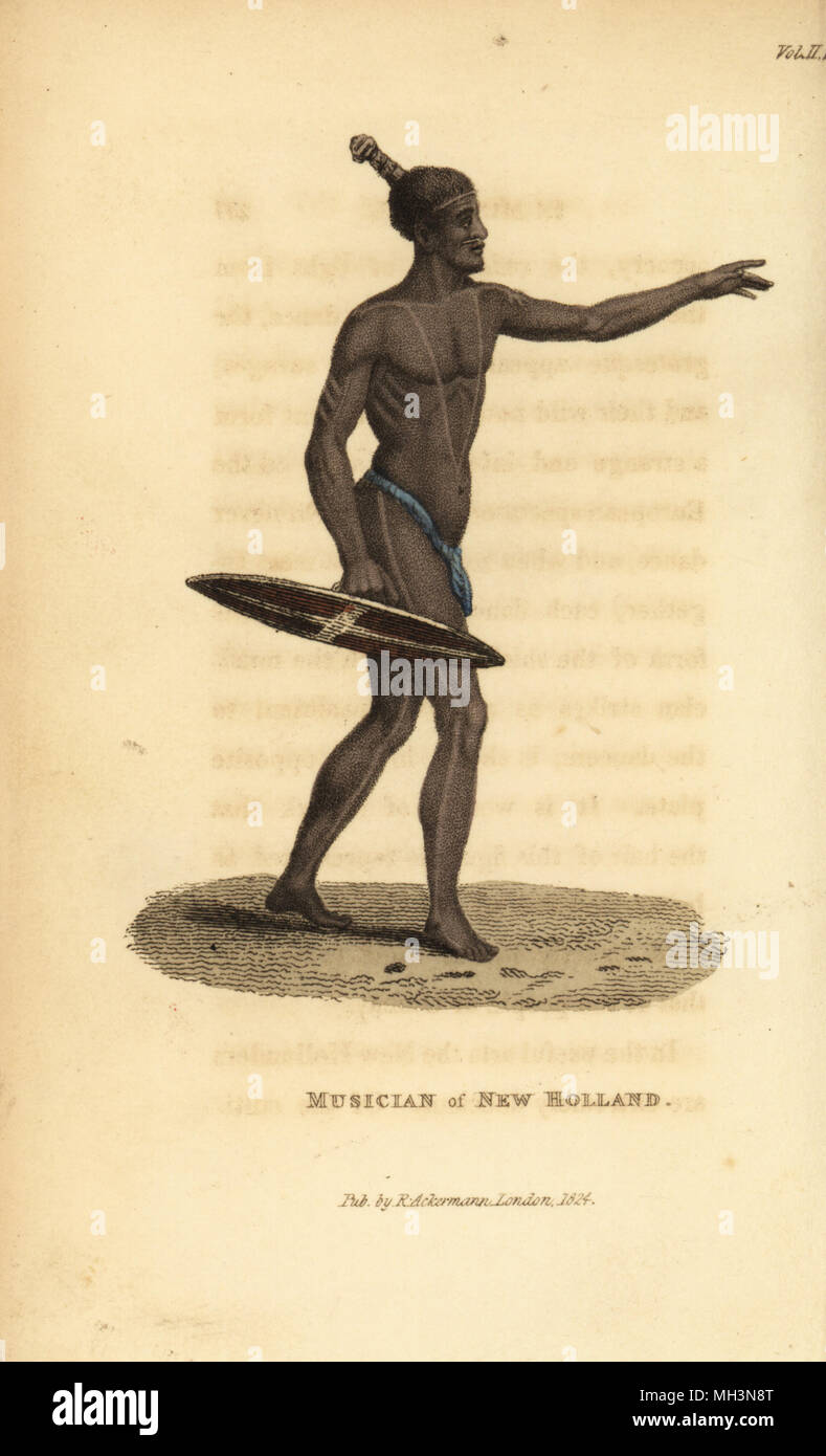 Australian aboriginal with a shield used as percussion instrument during a corroboree dance. Musician of New Holland. Handcoloured copperplate engraving from Frederic Shoberl's The World in Miniature: The Asiatic Islands and New Holland, R. Ackermann, London, 1824. - Stock Image