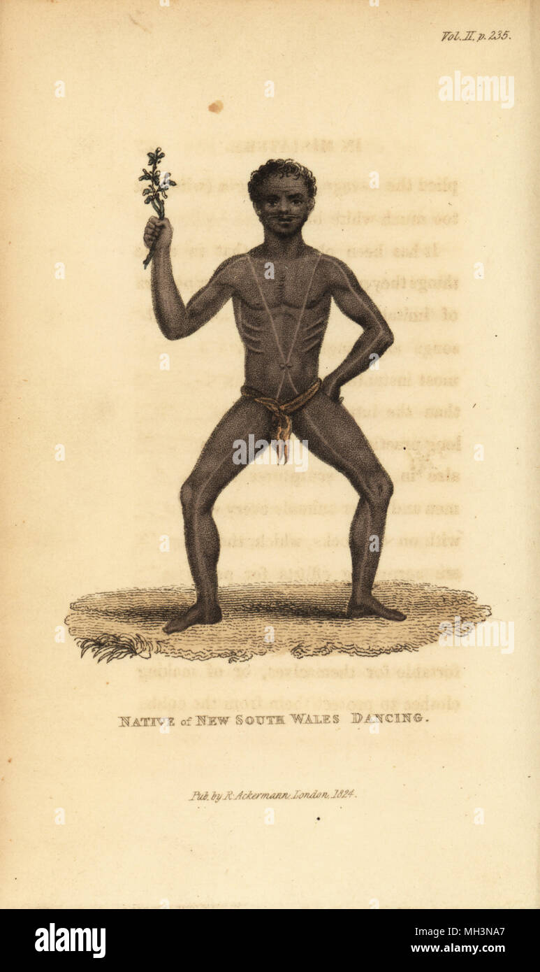 Australian aboriginal dancing at a corroboree. Body painted with pipe clay and red ochre. Native of New South Wales dancing. Handcoloured copperplate engraving from Frederic Shoberl's The World in Miniature: The Asiatic Islands and New Holland, R. Ackermann, London, 1824. - Stock Image