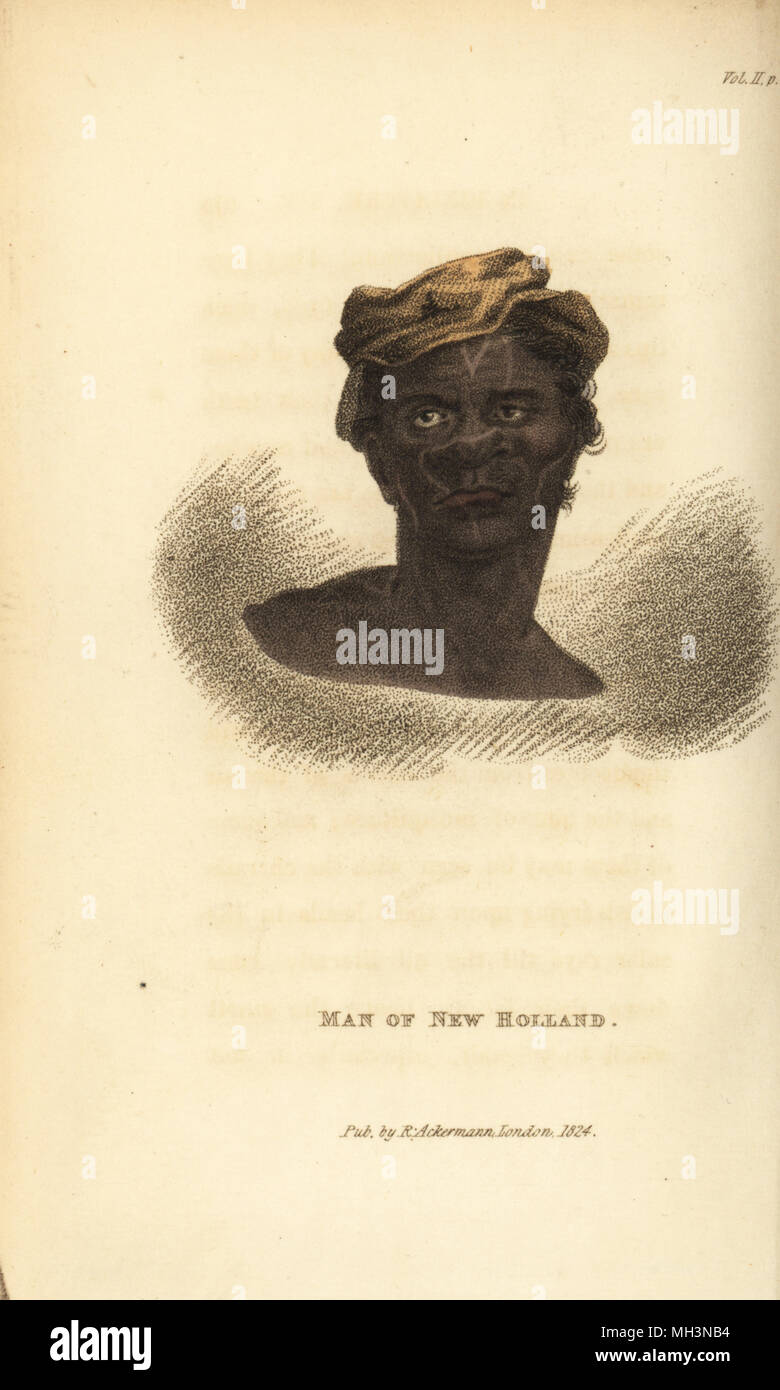 Head of an Australian aboriginal. Man of New Holland. Handcoloured copperplate engraving from Frederic Shoberl's The World in Miniature: The Asiatic Islands and New Holland, R. Ackermann, London, 1824. - Stock Image